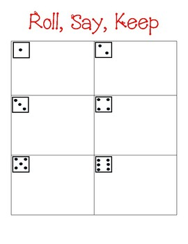 Roll, Say, Keep math boards