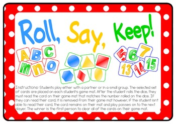 Roll, Say, Keep - sight words, numerals, alphabet & 2D shapes