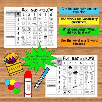 Roll Say and Cover Articulation Game - Sample Set