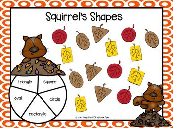 Squirrel's Shapes:  NO PREP Spin and Cover Flat Shape Game