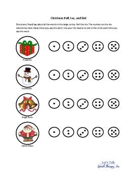 Christmas Roll, Say, and Dot - No Prep