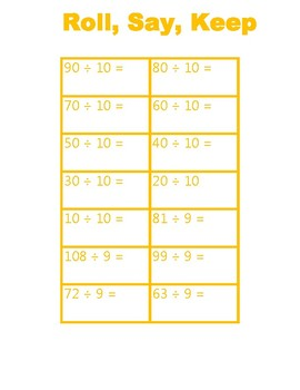 Roll, Say, and Keep Division Facts Gold Game