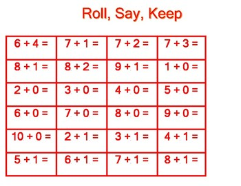 Roll, Say and Keep Addition Facts Red Game