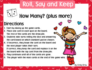 Roll, Say and Keep ~ Cardinality, Addition/Subtraction to 20, Ten and some more