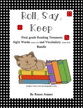 Roll, Say and Keep First Grade Treasures Sight Word and Vo