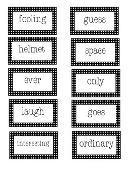 Roll, Say and Keep First Grade Treasures Unit 6 sight words and vocabulary