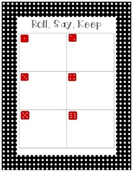 Roll, Say and Keep First Grade Treasures Unit 6 sight word