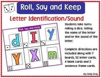 Roll, Say and Keep ~ Letter Identification ~ Beginning Sound
