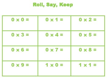 Roll, Say, and Keep Multiplication Facts Green Game