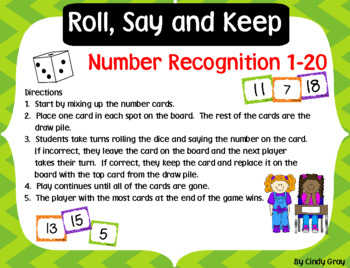 Roll, Say and Keep ~ Number Recognition 1-20