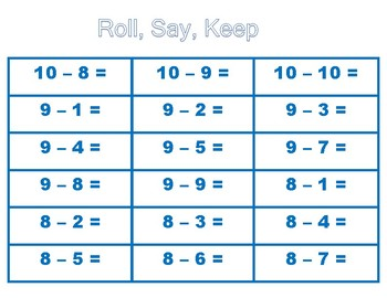 Roll, Say, and Keep Subtraction Facts Blue Game