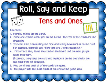 Roll, Say and Keep ~ Tens and Ones