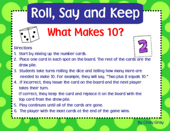 Roll, Say and Keep What Makes 10?
