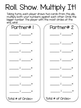 Roll, Show, Multiply It! An Engaging Way to Practice Multiplication Facts!
