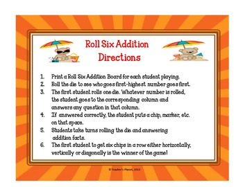 Addition Games -Roll Six Addition - Challenging!