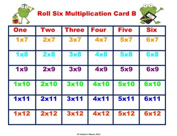 Multiplication Games- Roll Six Multiplication- Challenging!