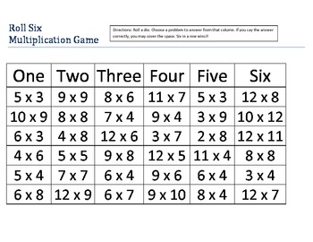 Roll Six Multiplication Game
