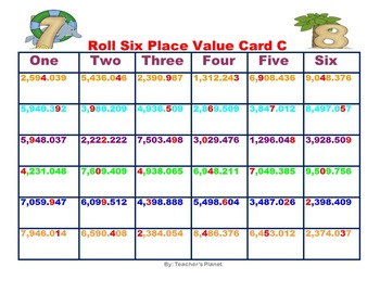 Place Value Games - Roll Six Place Value!