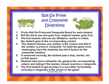Prime and Composite Games - Roll Six! 4.OA.B.4