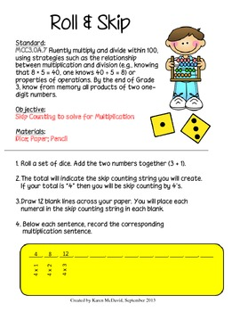 Roll & Skip: Skip Counting to Solve for Multiplication (Co