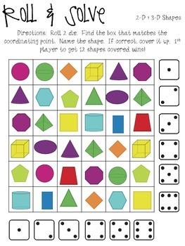 Roll & Solve - 2D & 3D Shapes