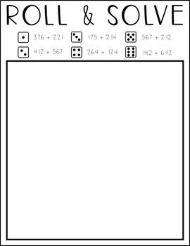 Roll & Solve 3-Digit Addition
