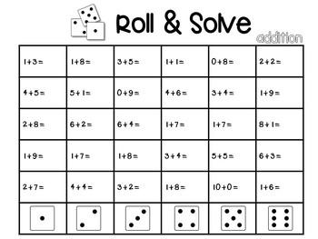 Roll & Solve Addition FREEBIE