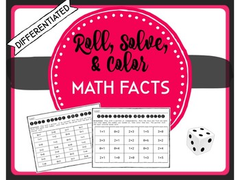 Math Facts Fluency Math Center Game - Roll Solve & Color