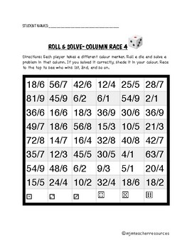 Roll & Solve Multiplication Basic Facts Column Race Game