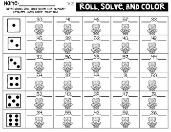 Roll, Solve, and Color (one more, one less)