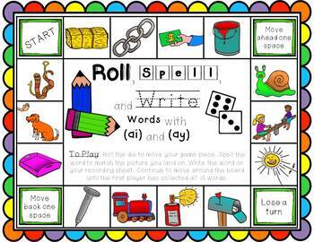 Roll, Spell, and Write (Vowel Teams)