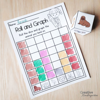 Roll, Spin and Color Graphing Activities for Kindergarten Math Centers