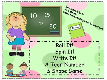 Roll, Spin and Write - Three Teen Number Games and  a Shape Game