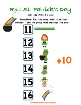 Roll St. Patrick's Day: 16 Games for Number Recognition and Addition Strategies