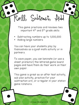Roll, Subtract, Add - Subtracting Large Numbers Game {PRINT and GO!}