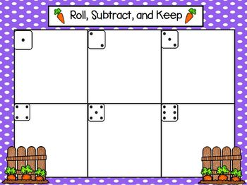 Roll, Subtract, and Keep:  LOW PREP Garden Themed Roll, Say, and Keep Activity