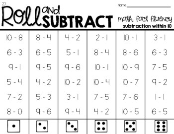 Roll & Subtract within 10-Math Fact Fluency