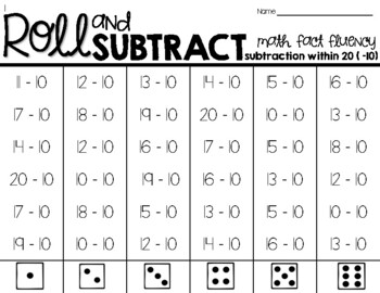 Roll & Subtract within 20-Math Fact Fluency