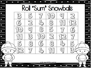 """Roll """"Sum"""" Snowballs:  NO PREP Addition Five in a Row Game"""