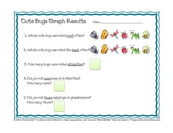 Roll, Tally, Count, and Color - Graphing Cute Bugs