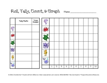 Roll, Tally, Count, and Color - Graphing Ocean Animals