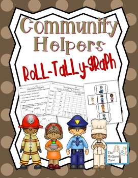 Community Helpers Roll Tally Graph Math Activity Set