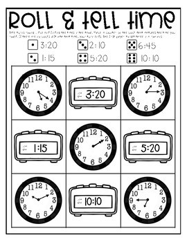 Roll & Tell Time - Digital & Analog Clocks