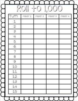 Roll To 1,000 Math Game-Addition Within 1,000