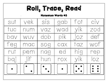 Roll, Trace, Read (Nonsense Words)