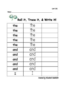 Roll, Trace, & Write Pre-Primer Dolch Words