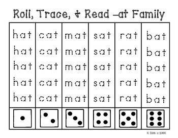 Roll, Trace, and Read Word Families {34 Word Families}