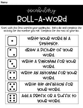 Roll & Write Activity