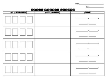 Roll Write Expand, Place Value Game