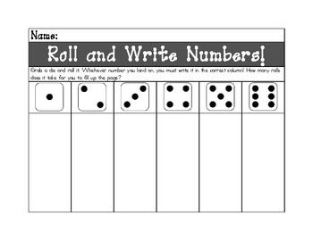 Roll & Write Numbers *FREEBIE*